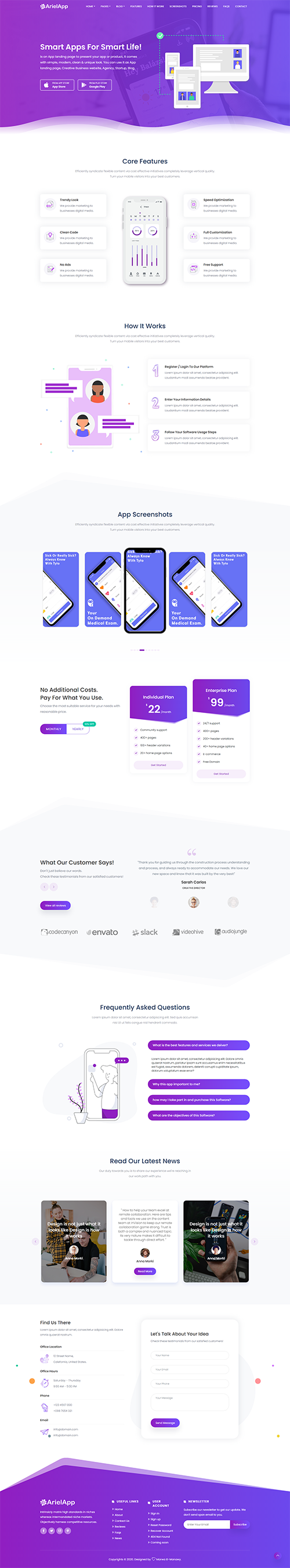 Ariel - App Landing Page Template + RTL