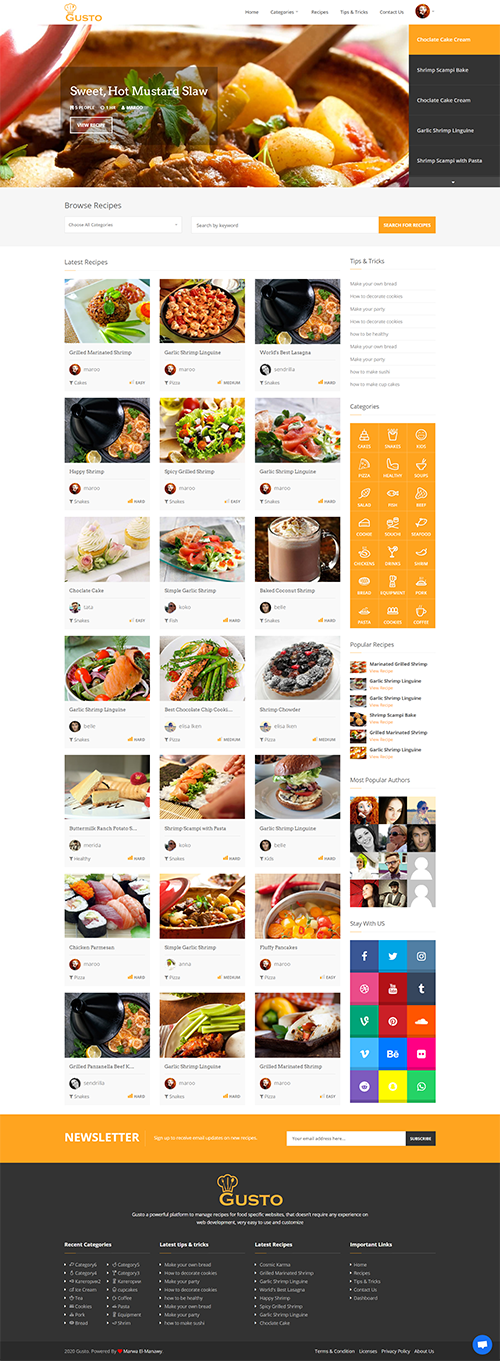 Gusto - Recipes Management System