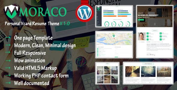 MORACO - Personal Vcard Resume Wordpress Theme